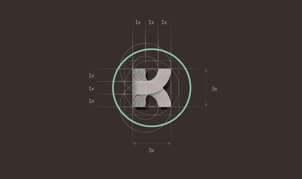 Geometría aplicada al logo de Kislinger Media Group
